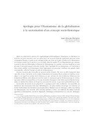 Apologie pour l'Humanisme: de la globalisation à la sectorisation d ...