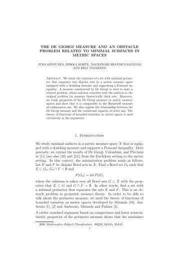 THE DE GIORGI MEASURE AND AN OBSTACLE PROBLEM ...