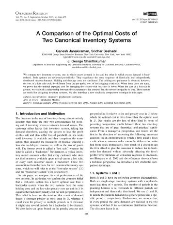 A Comparison of the Optimal Costs of Two Canonical - Operations ...