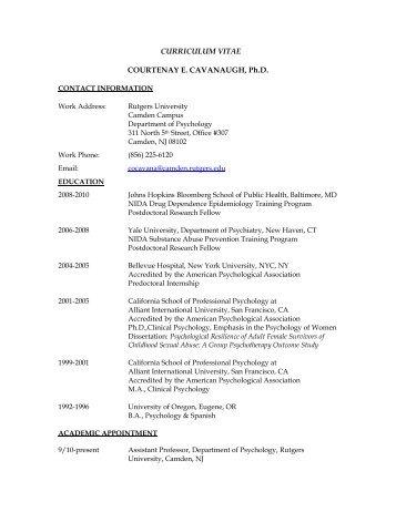 CURRICULUM VITAE COURTENAY E. CAVANAUGH, Ph.D.