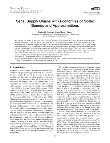 Serial Supply Chains with Economies of Scale - Operations Research