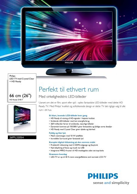 26PFL3205H/12 Philips LED-TV med Crystal Clear + HD Ready