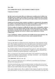 Mars. 2006 LES LOISIRS DES FILLES : DES LOISIRS UN BRIN ...