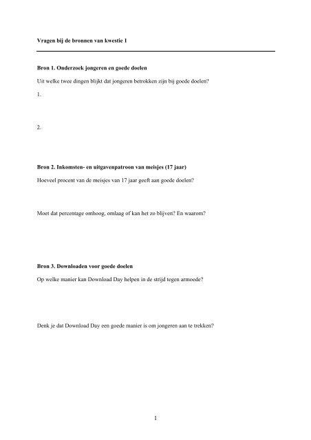 Kwestie 1: Goede Doelen en Jongeren