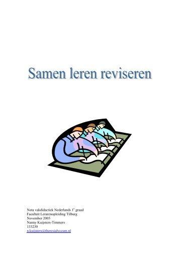 : Nota vakdidactiek Nederlands 1 graad Faculteit Lerarenopleiding ...