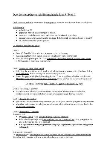 Duo-dossieropdracht schrijfvaardigheid klas 3 / blok 1