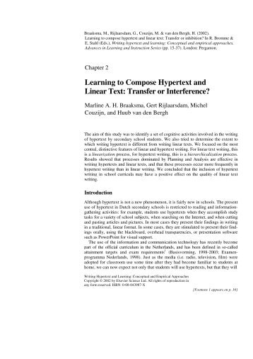 Learning to Compose Hypertext and Linear Text: Transfer or ...