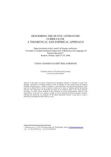 DESCRIBING THE DUTCH LITERATURE CURRICULUM: A ...