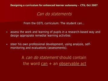 Designing a curriculum for enhanced learner autonomy – CTU, Oct ...