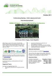 October 2011 CESB13 Prague - Sustainable Building ... - Cib