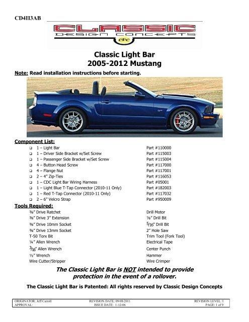 Classic Light Bar 2005-2012 Mustang - CJ Pony Parts