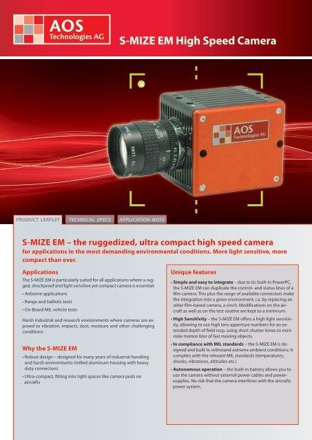 S-MIZE EM High Speed Camera - AOS Technologies AG