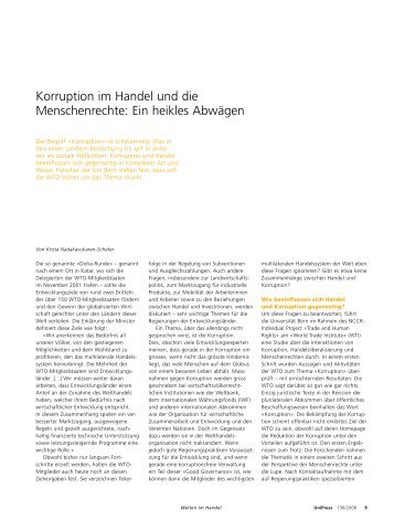 Korruption im Handel und die Menschenrechte ... - Universität Bern