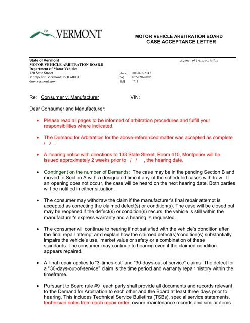 notice of acceptance sample