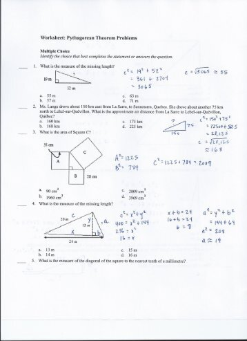 Grade 9 Math Pythagorean Theorem Worksheets - pythagoras theorem ...