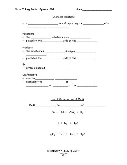 Matter Worksheet Balancing Equations