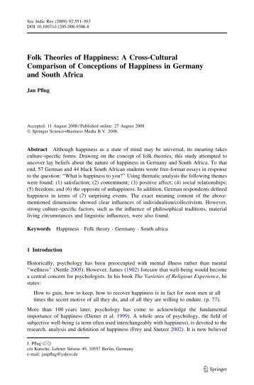 Folk Theories of Happiness: A Cross-Cultural Comparison of ...