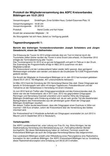 Protokoll der Jahreshauptversammlung 2013 - ADFC