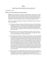 Senate Bylaws - UT Knoxville Faculty Senate