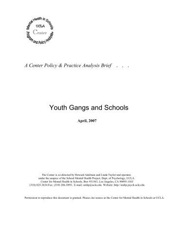 gang and mental health model The native american women's health education resource center (link is  external)  youth gangs within american indian and alaska native communities   of substance abuse and mental illness on america's communities.