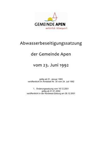 Abwasserbeseitungssatzung - Gemeinde Apen