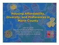 Housing Affordability, Diversity and Stability in Marin County