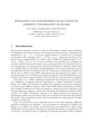 Estimation non paramétrique de quantiles en présence d'information ...