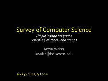 Survey of Computer Science - Mathematics and Computer Science