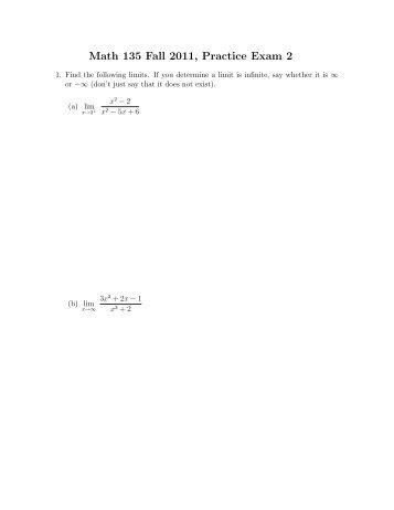 Math 135 Fall 2011, Practice Exam 2