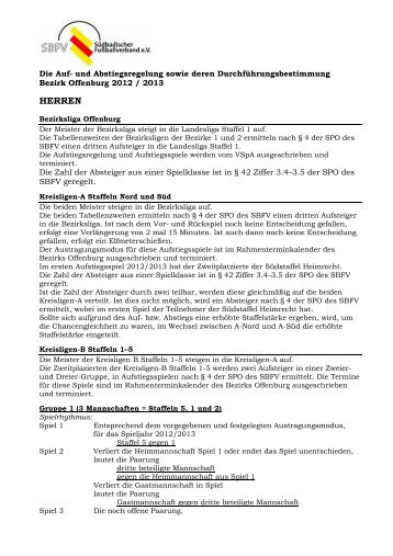 HERREN - Bezirk Offenburg - SBFV