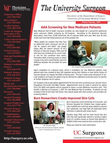 AAA Screening for New Medicare Patients - Surgery - University of ...