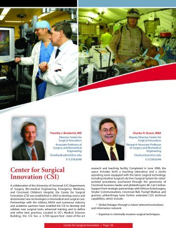 Center for Surgical Innovation (CSI) - Surgery - University of Cincinnati