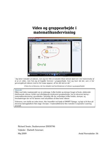 Video og gruppearbejde i matematikundervisning - Aalborg Universitet