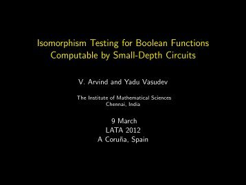 Isomorphism Testing of Boolean Functions Computable by Constant ...