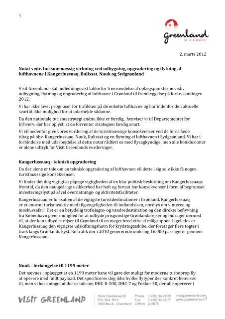 2. marts 2012 Notat vedr. turismemæssig virkning ved ... - Greenland