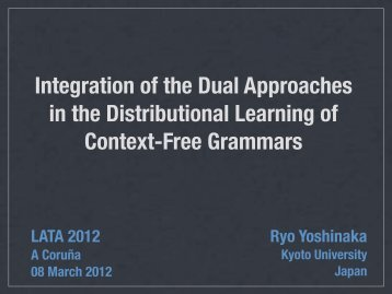 Integration of the Dual Approaches in the ... - Formal Grammars