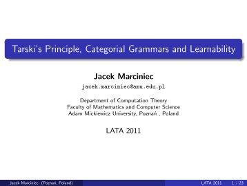 Tarski's Principle, Categorial Grammars and Learnability