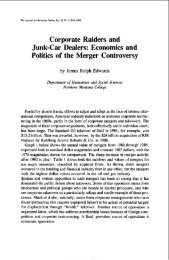 Corporate Raiders and Junk-Car Dealers: Economics and Politics of ...