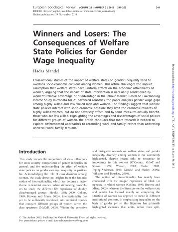 Winners and Losers: The Consequences of Welfare State Policies ...