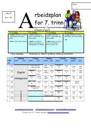 rbeidsplan for 7. trinn - itslearning