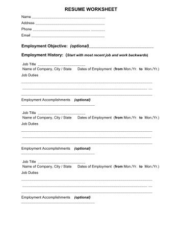 RESUME WORKSHEET – for brainstorming and information collection