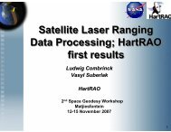 Satellite Laser Ranging Data Processing; HartRAO first results ...
