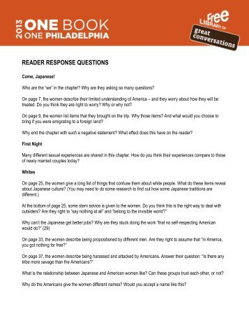 READER RESPONSE QUESTIONS - Free Library of Philadelphia
