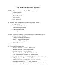 Mole Worksheet (Dimensional Analysis) #1