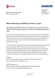 Mikron Machining and DKSH join forces in Japan