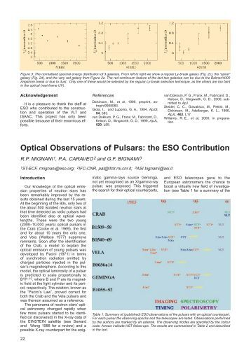 Optical Observations of Pulsars: the ESO Contribution