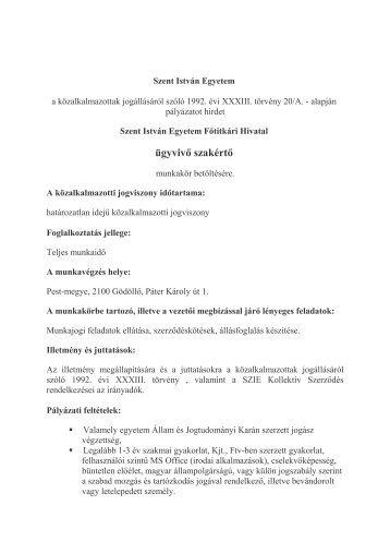 ügyvivő szakértő - Szent István Egyetem