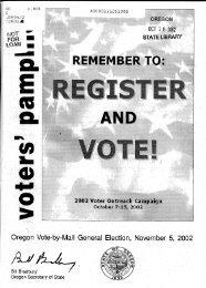 Pamphlet, General Election, November 5, 2002 - Oregon State ...
