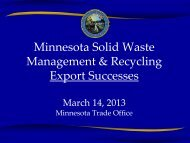 Minnesota Solid Waste Management & Recycling Export Successes