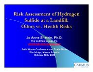 Risk Assessment of Hydrogen Sulfide at a Landfill: Odors vs. Health ...